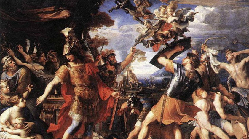 Aeneas and his companions fighting the Harpies, Francois Perrier, before 1650