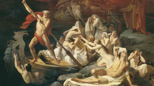 Charon Carries Souls Across the River Styx; Alexander Dmitrievich Litovchenko, 1835-1890