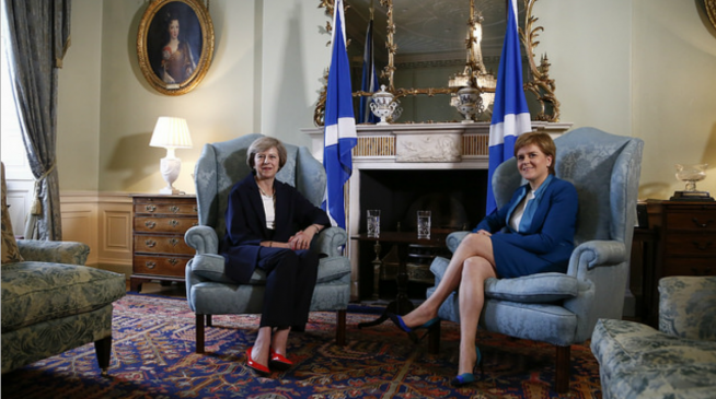 Theresa May and Nicola Sturgeon at the latter's official residence, Bute House, Edinburgh
