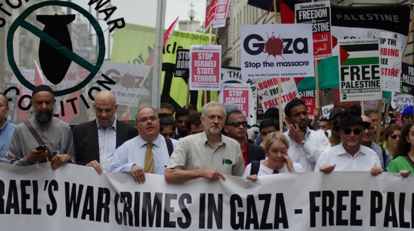 Labour Party leader Jeremy Corbyn at pro-Palestinian demonstration