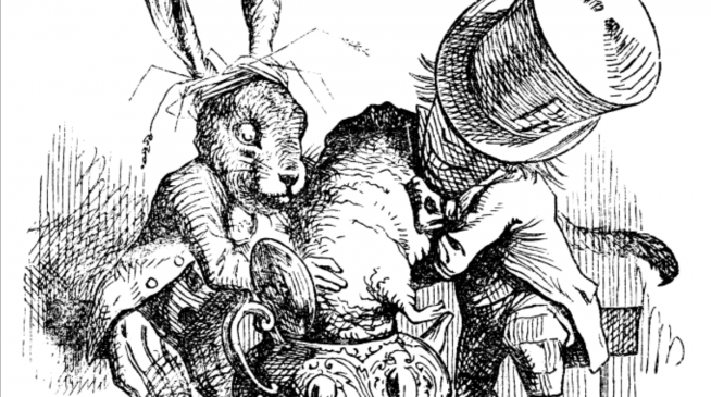 Mad Hatter's tea-party, from Alice's Adventure in Wonderland by KLewis Carroll; Tenniel illustration