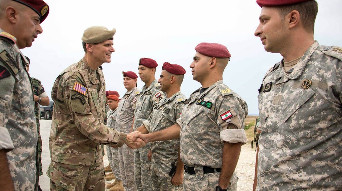General Joseph L. Votel, U.S. Central Command Commander, meets members of the Lebanese Armed Forces during his visit to the Amchit military base August 23, 2016